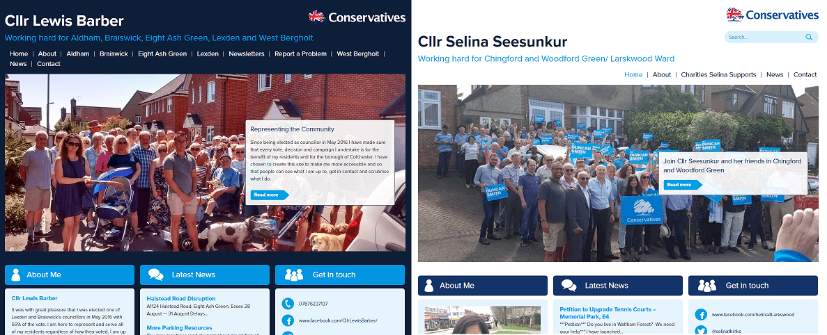 A selection of yourcllr.com examples